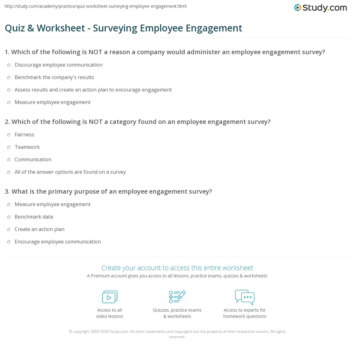 quiz worksheet surveying employee engagement. Black Bedroom Furniture Sets. Home Design Ideas