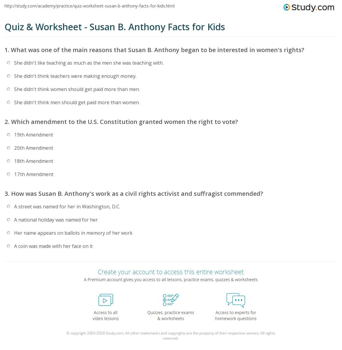 Quiz & Worksheet - Susan B. Anthony Facts for Kids | Study.com