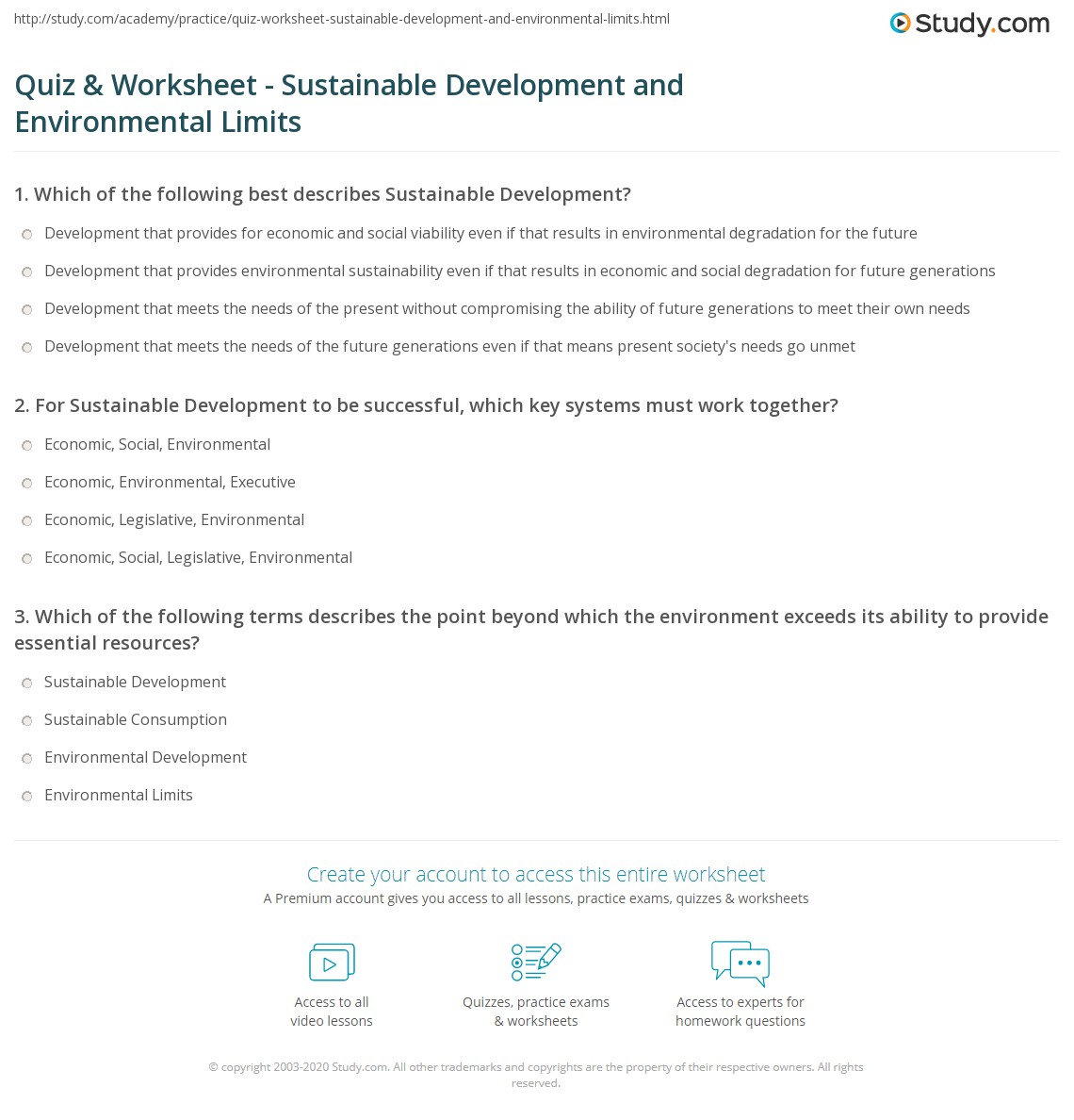 Quiz & Worksheet Sustainable Development and Environmental