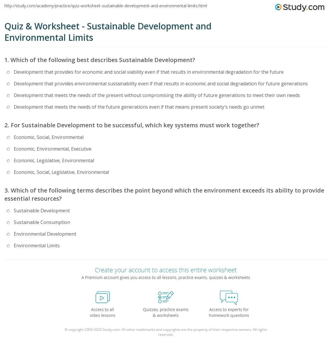 Quiz & Worksheet Sustainable Development and Environmental