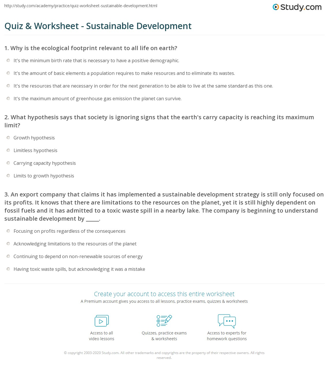 quiz & worksheet - sustainable development | study