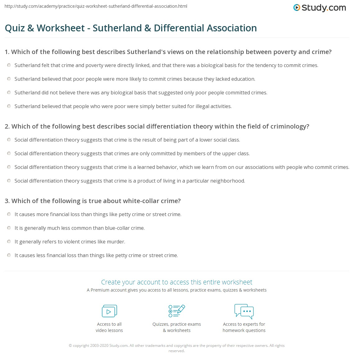 sutherland differential association