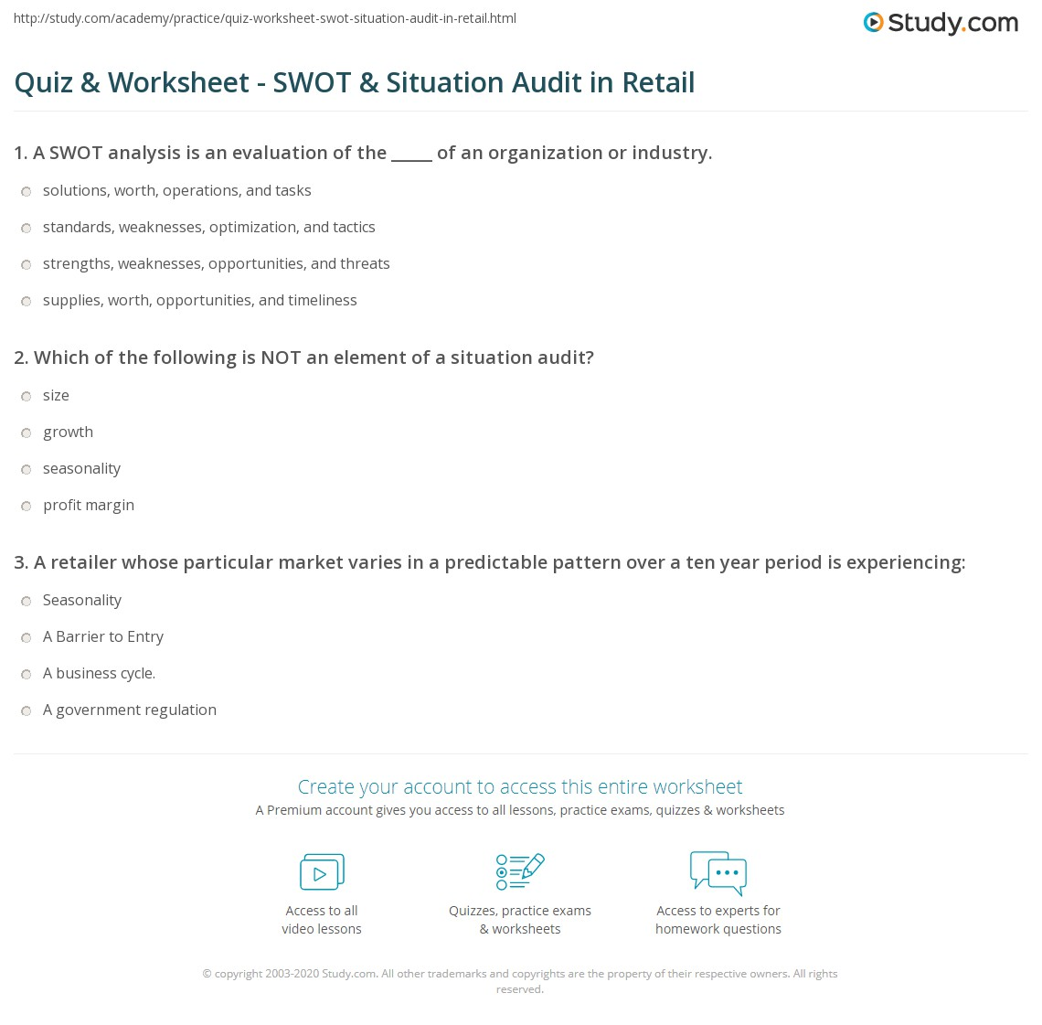 SWOT & Situation Audit In Retail
