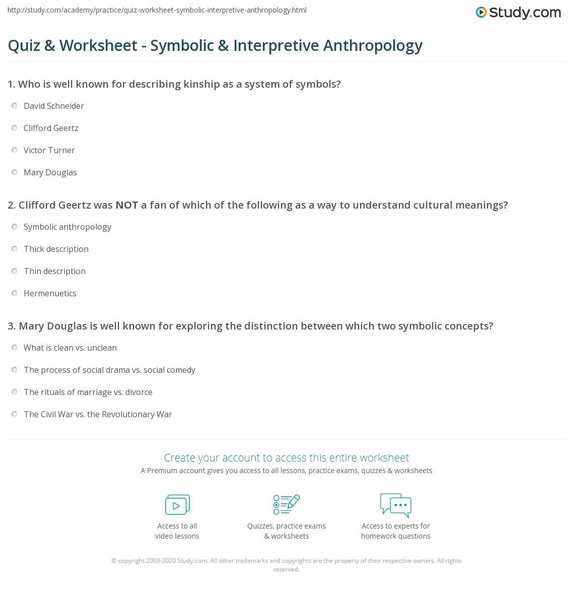 Quiz Worksheet Symbolic Interpretive Anthropology Study