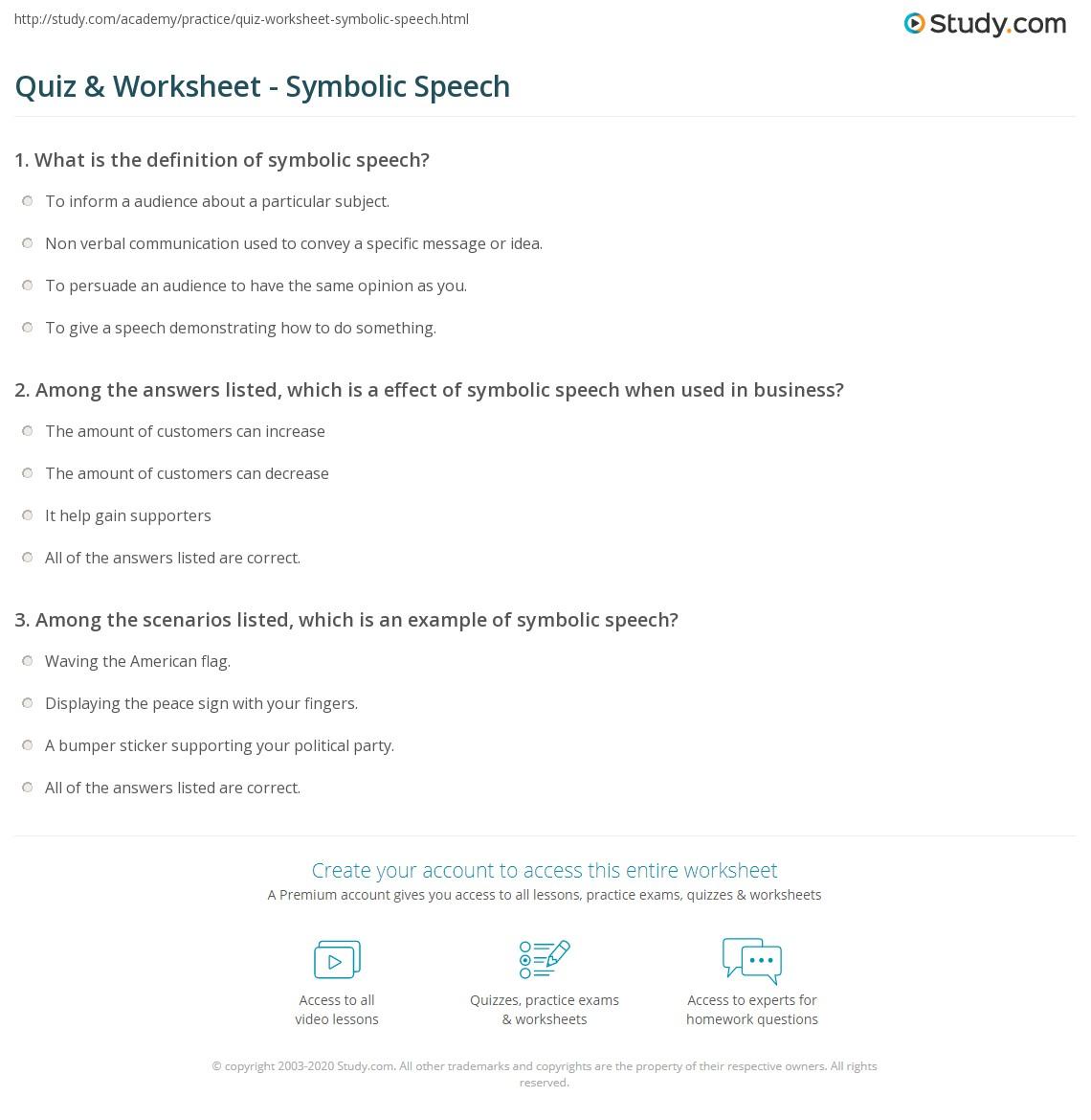 Quiz Worksheet Symbolic Speech Study