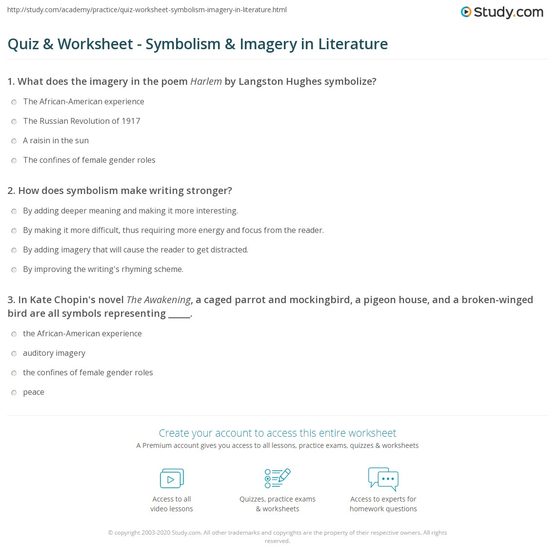 Quiz Worksheet Symbolism Imagery In Literature Study
