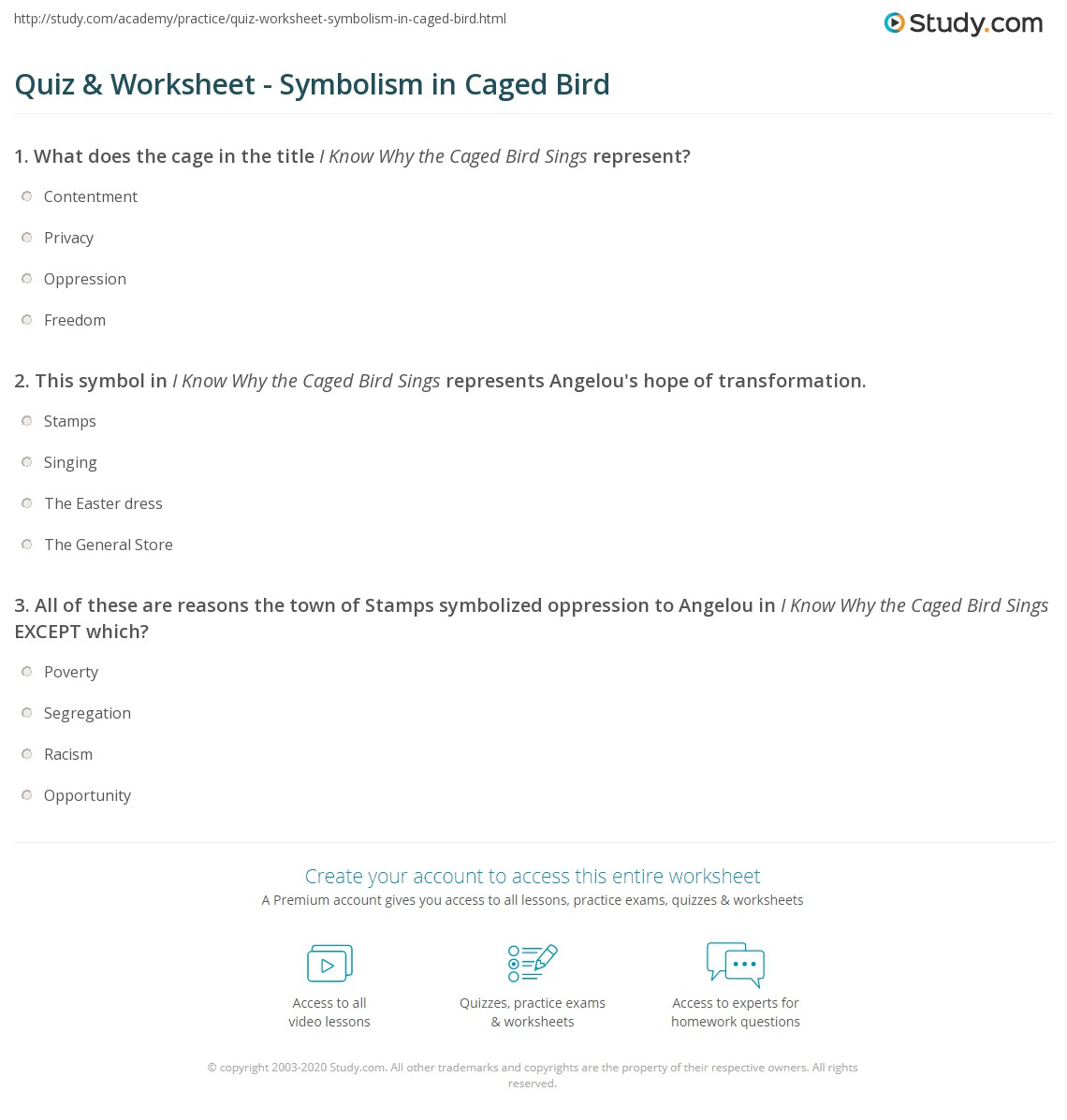 Quiz worksheet symbolism in caged bird study print symbols in i know why the caged bird sings worksheet biocorpaavc