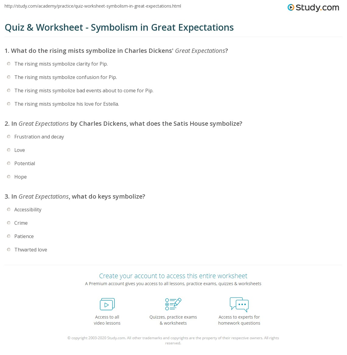 Quiz worksheet symbolism in great expectations study print symbols in great expectations worksheet biocorpaavc Choice Image