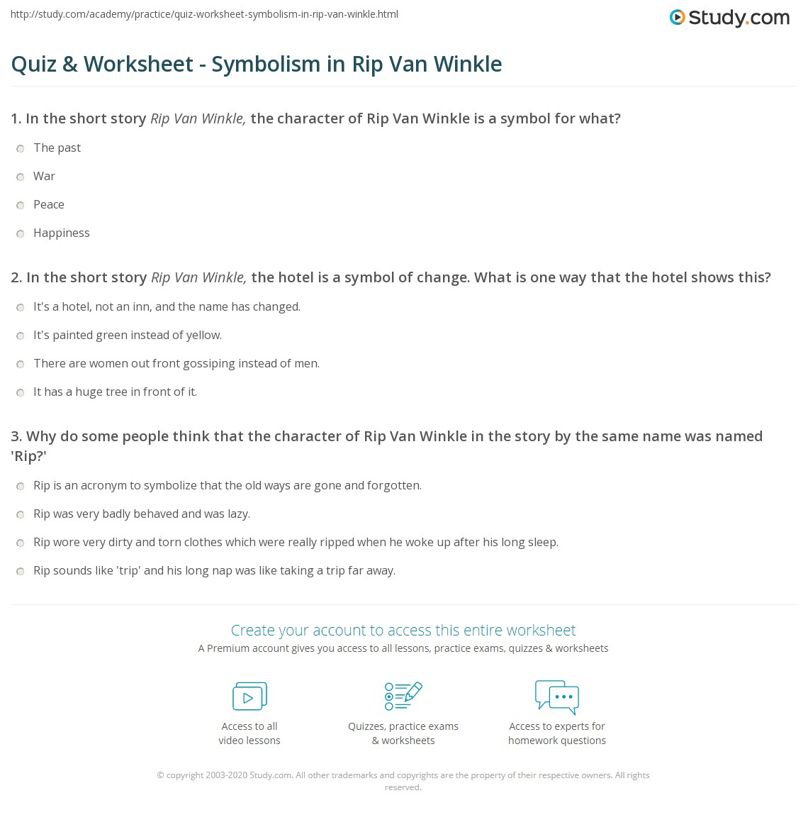 Quiz worksheet symbolism in rip van winkle study in the short story rip van winkle the hotel is a symbol of change what is one way that the hotel shows this buycottarizona