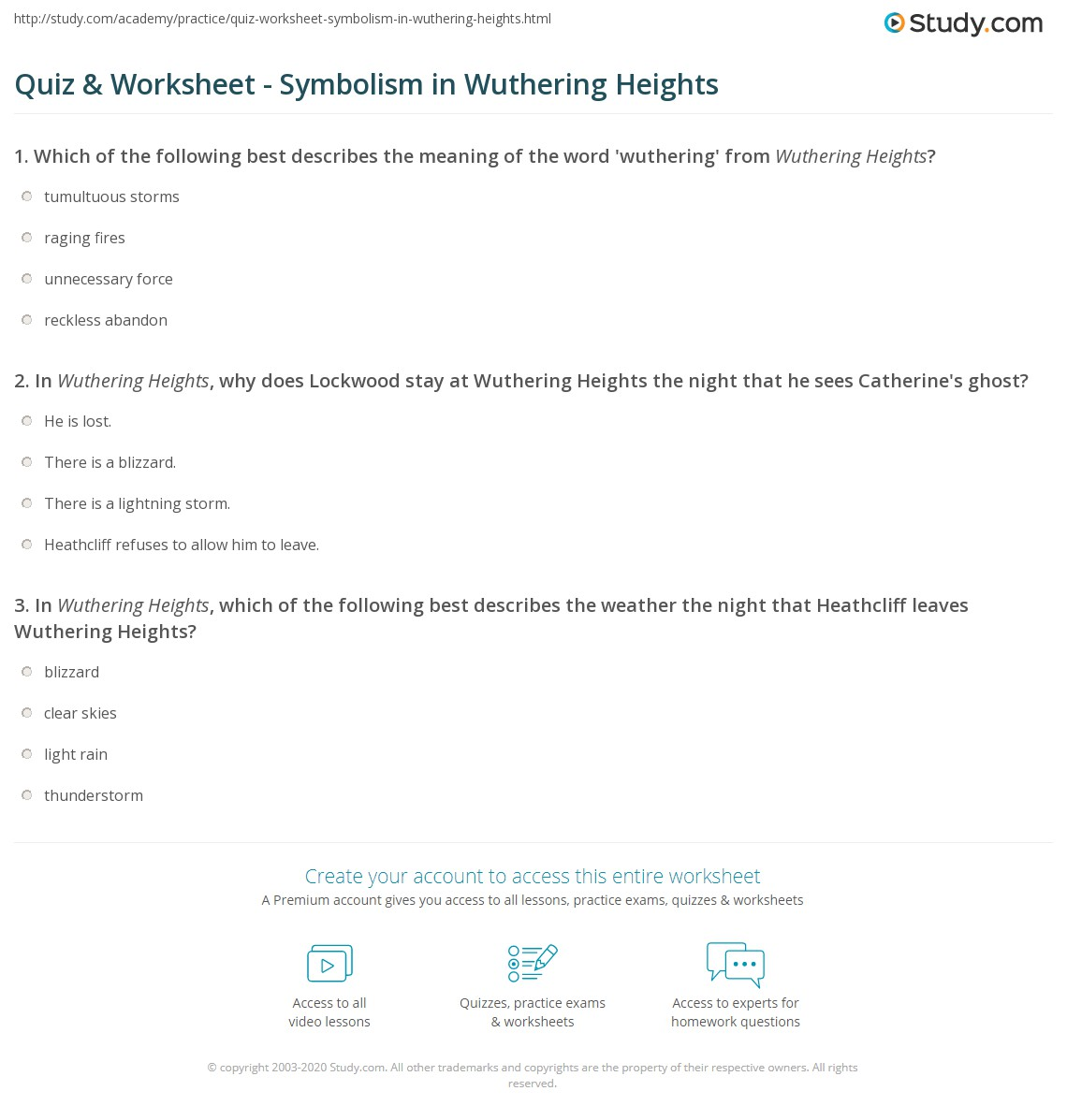 Quiz Worksheet Symbolism In Wuthering Heights Study