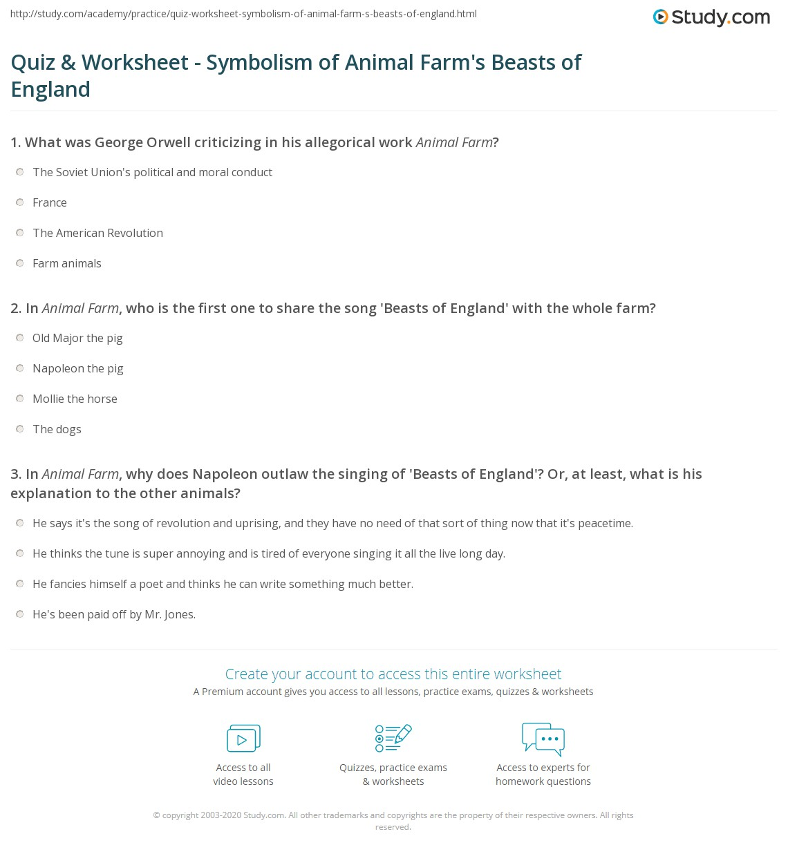 Quiz Worksheet Symbolism Of Animal Farms Beasts Of England