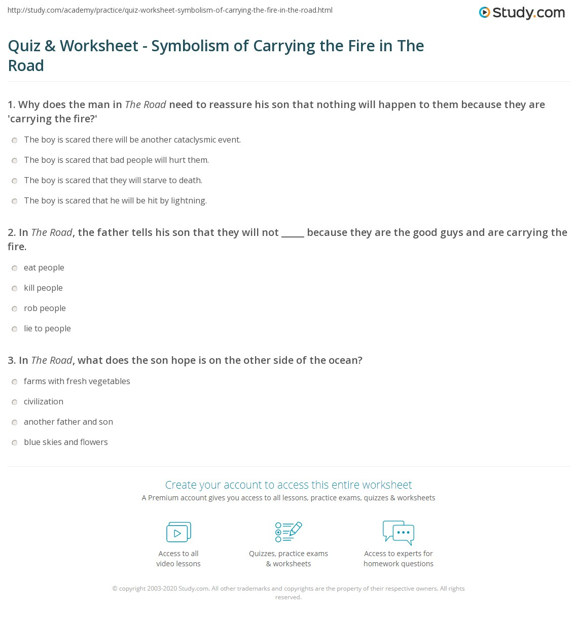 Quiz Worksheet Symbolism Of Carrying The Fire In The Road