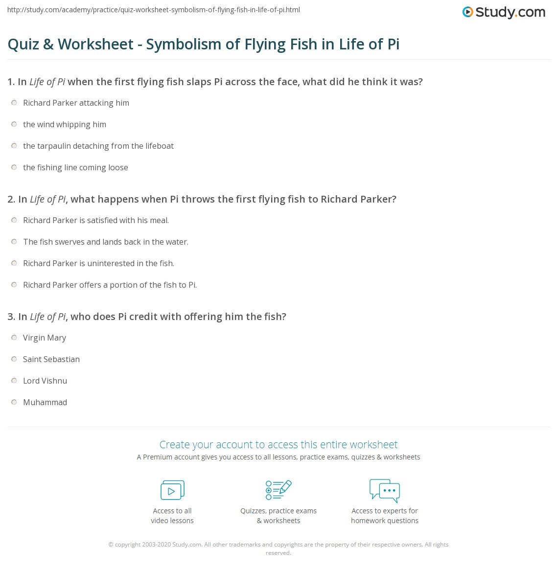 Quiz Worksheet Symbolism Of Flying Fish In Life Of Pi Study