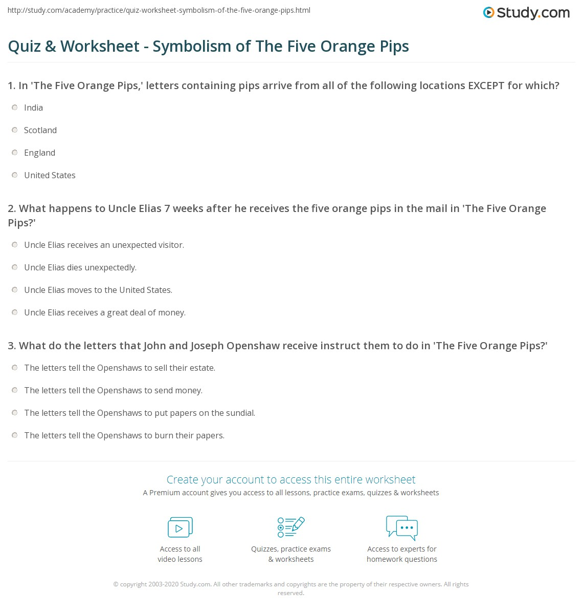 Quiz Worksheet Symbolism Of The Five Orange Pips Study