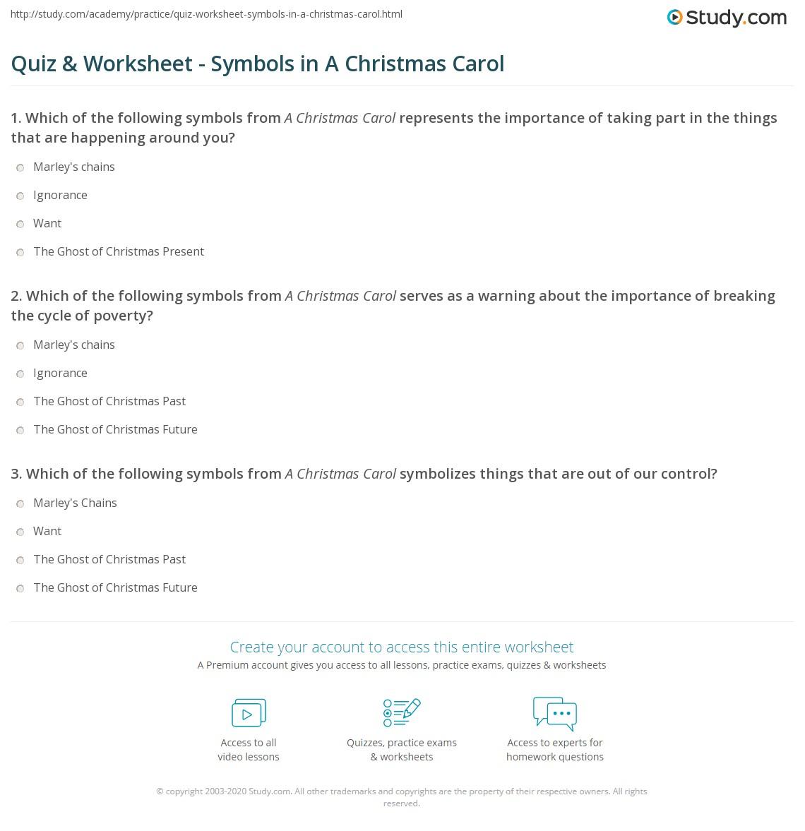 Quiz & Worksheet - Symbols in A Christmas Carol | Study.com