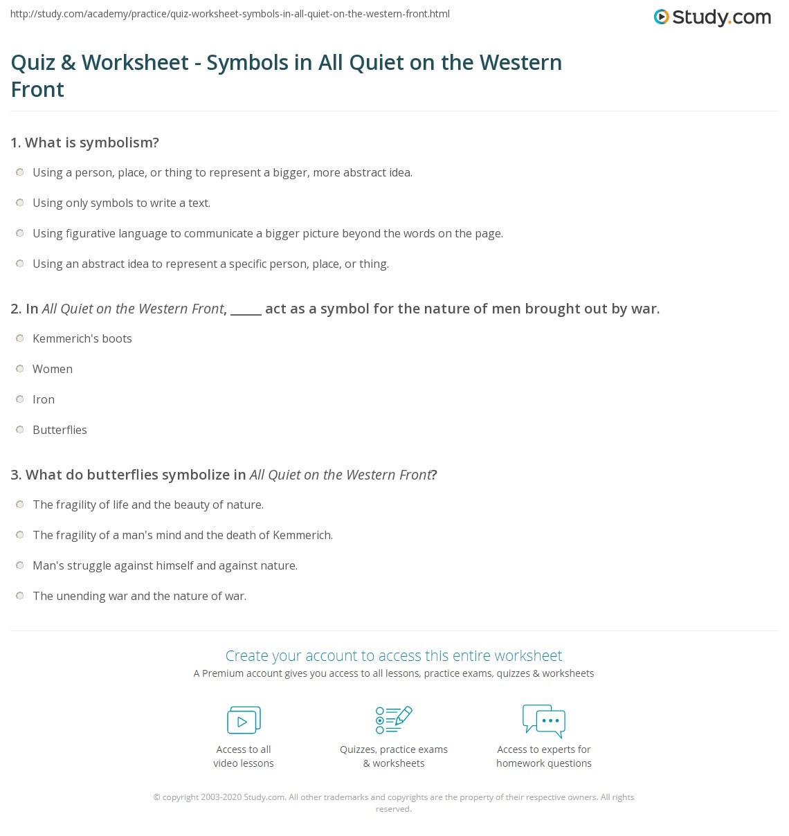 Quiz worksheet symbols in all quiet on the western front print all quiet on the western front symbols symbolism worksheet buycottarizona