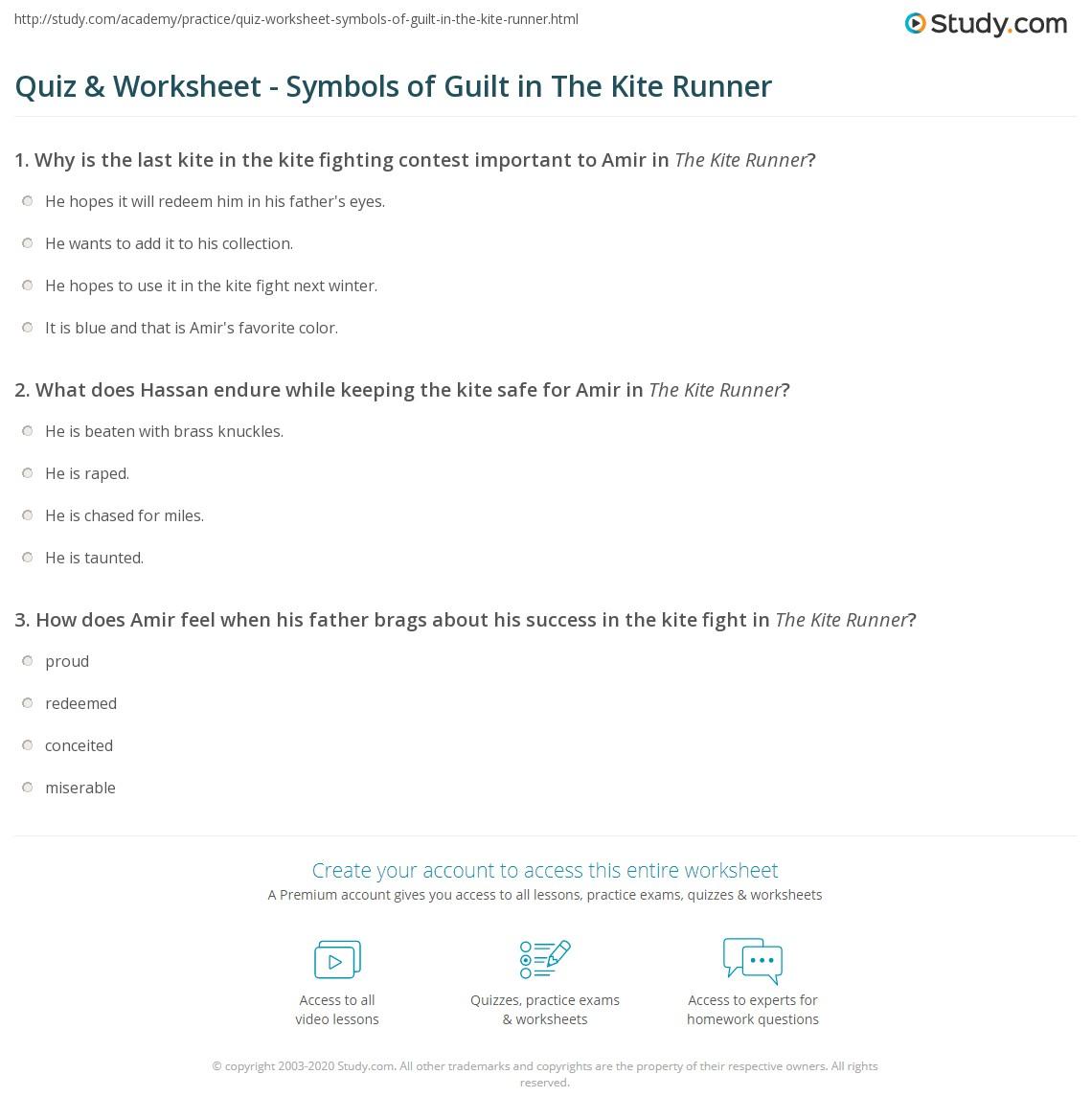 Quiz worksheet symbols of guilt in the kite runner study print symbols of guilt in the kite runner worksheet buycottarizona Gallery