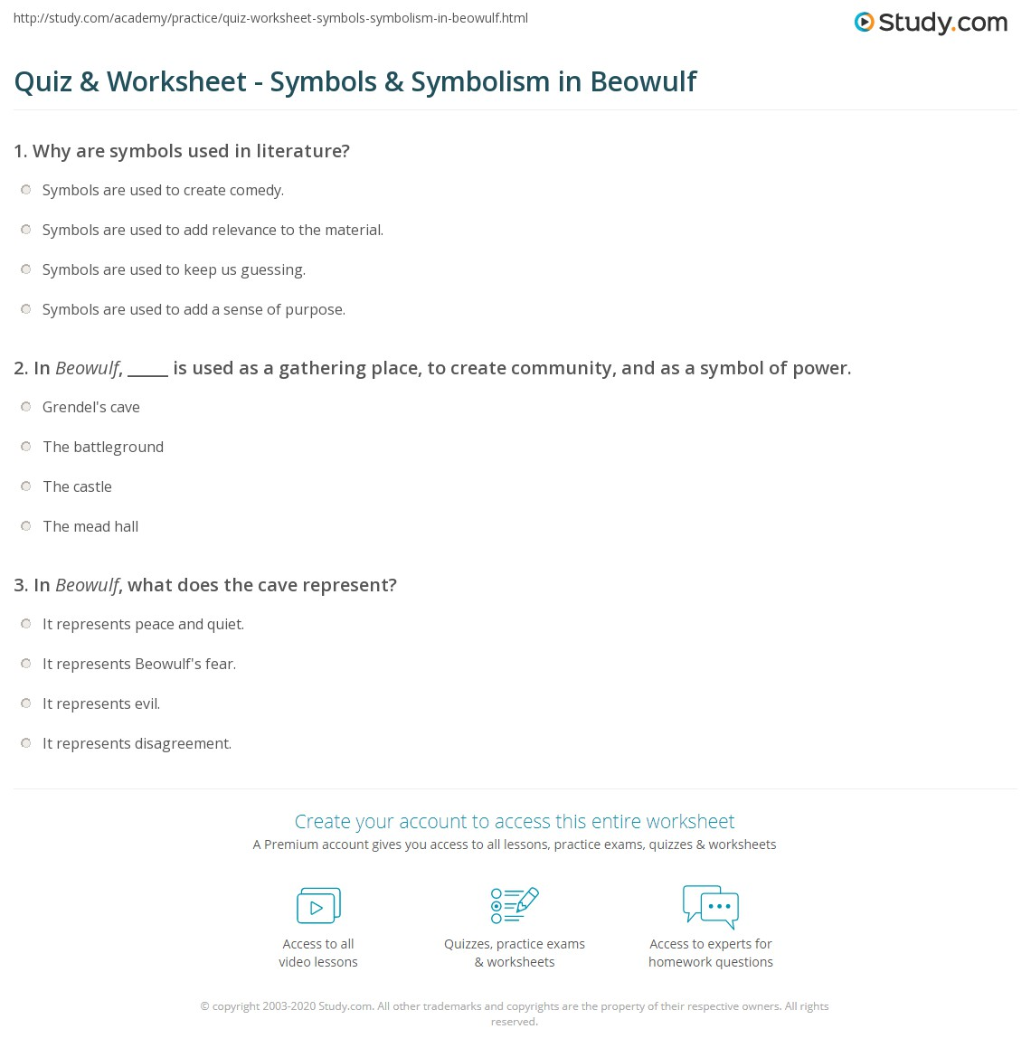 Quiz Worksheet Symbols Symbolism In Beowulf Study