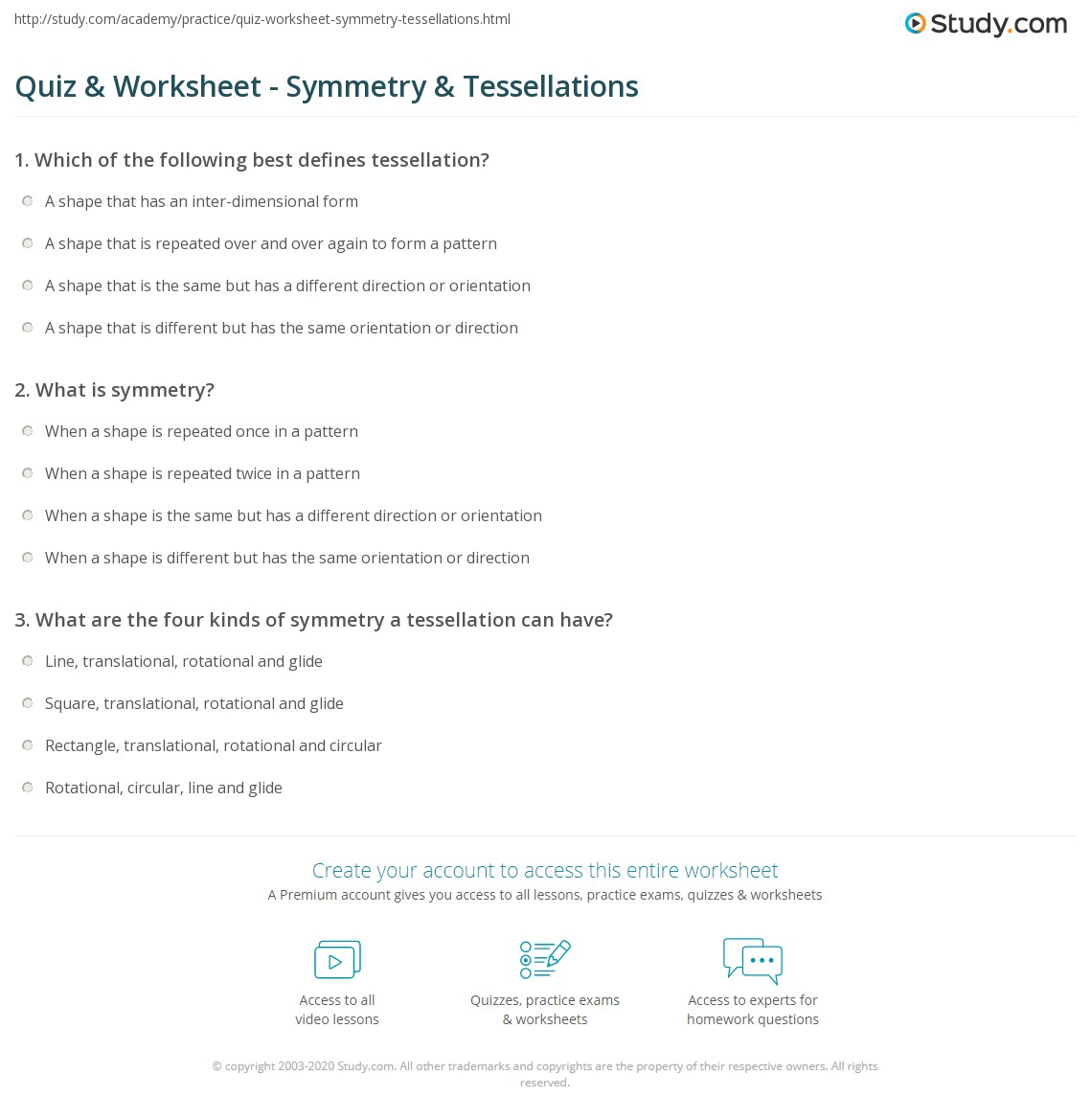 Worksheets Tessellations Worksheet quiz worksheet symmetry tessellations study com print using to describe worksheet