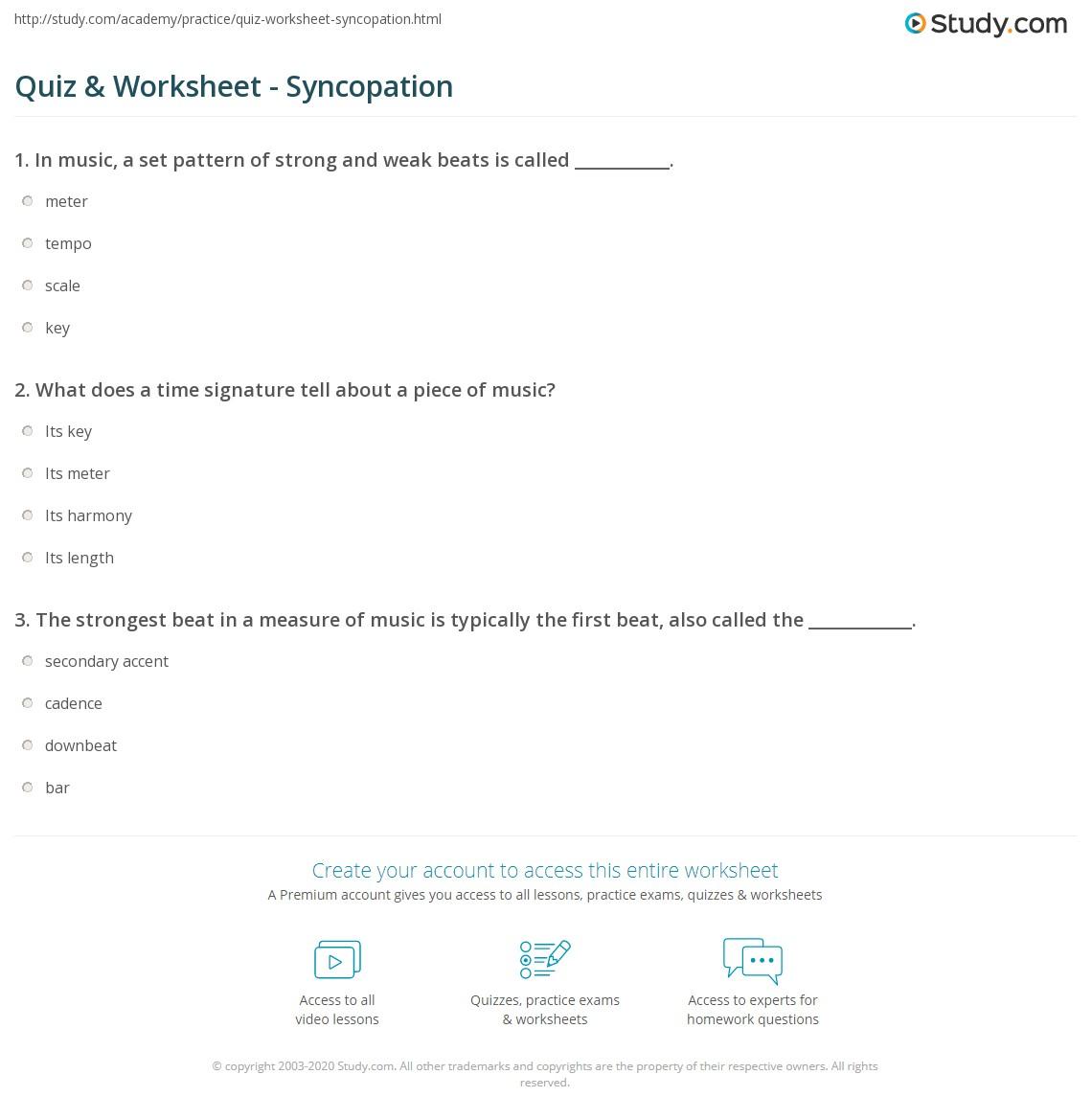 quiz & worksheet - syncopation | study
