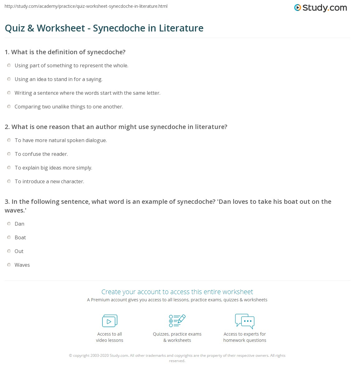 quiz worksheet synecdoche in literature study com