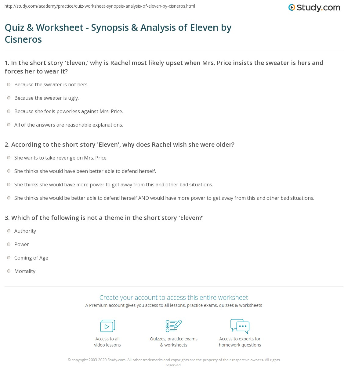 quiz worksheet synopsis analysis of eleven by cisneros  print eleven by sandra cisneros summary theme analysis worksheet