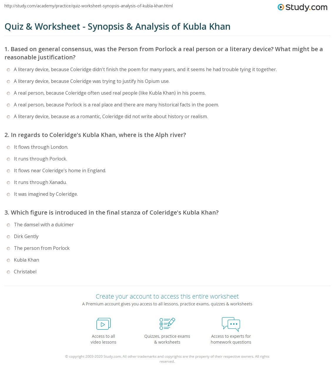 quiz worksheet synopsis analysis of kubla khan com print kubla khan by coleridge analysis and summary worksheet