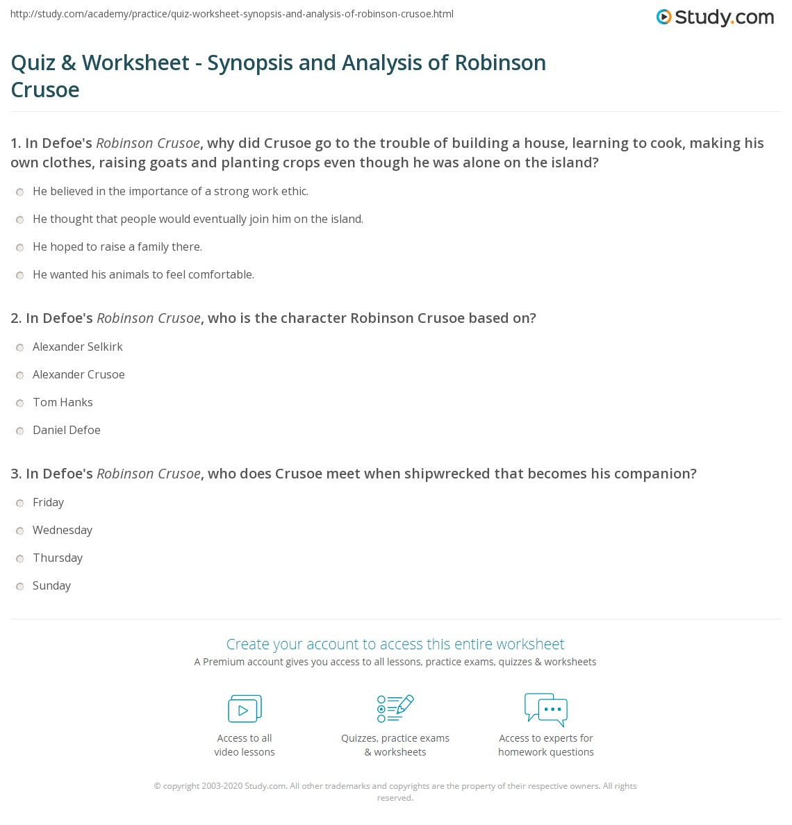 Quiz Worksheet Synopsis And Analysis Of Robinson Crusoe