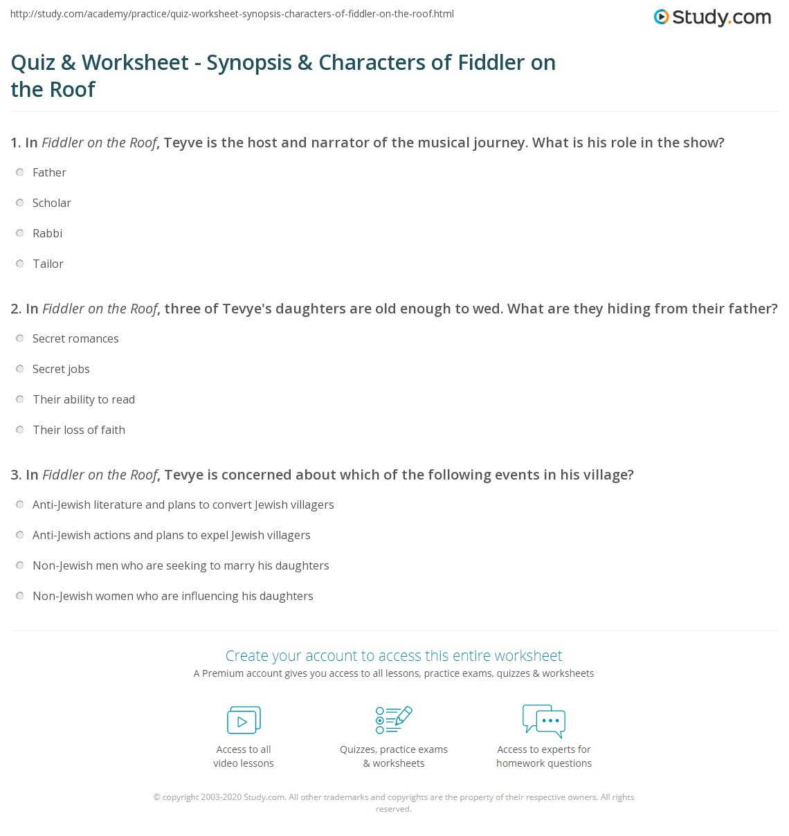 quiz worksheet synopsis characters of fiddler on the roof. Black Bedroom Furniture Sets. Home Design Ideas