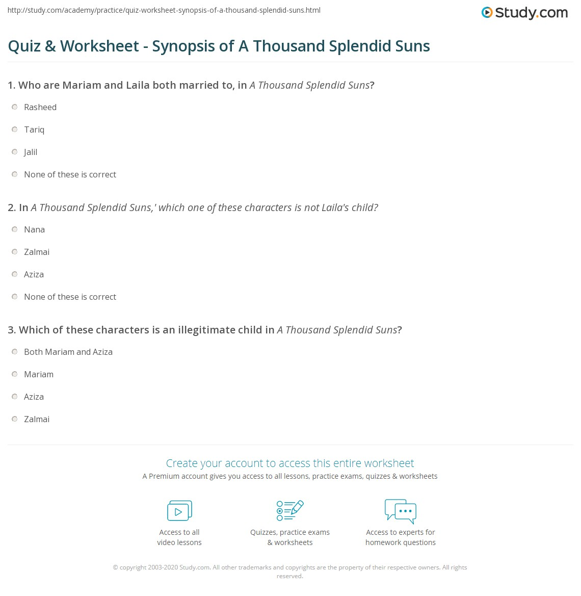 quiz worksheet synopsis of a thousand splendid suns com print summary of khaled hosseini s a thousand splendid suns worksheet