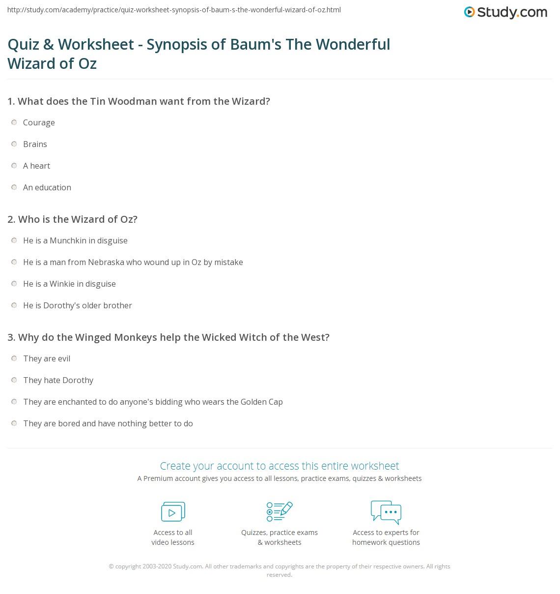 Quiz Worksheet Synopsis of Baums The Wonderful Wizard of Oz – Math Wizard Worksheet