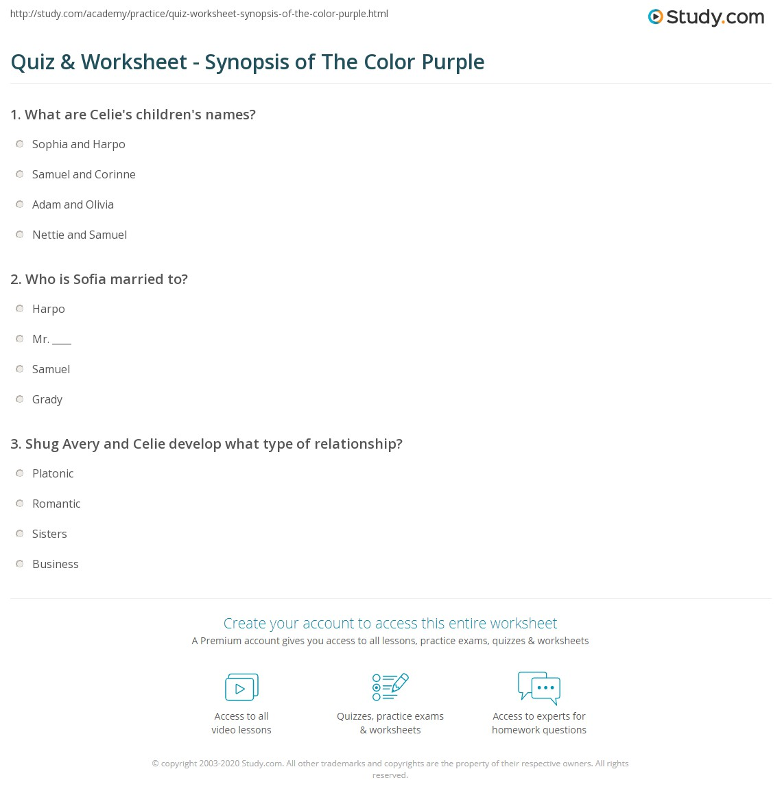 the color purple summary short murderthestout quiz worksheet synopsis of the color purple study com