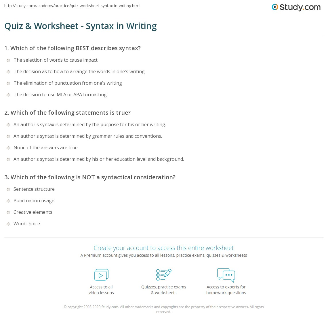 worksheet Syntax Worksheets quiz worksheet syntax in writing study com print definition examples worksheet