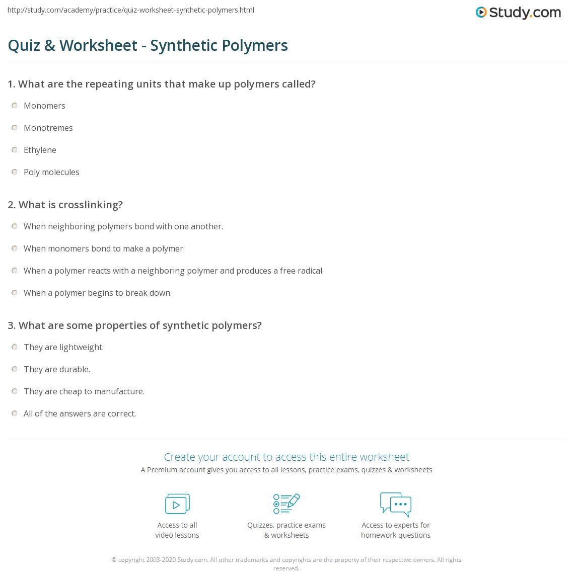 worksheet What Are Worksheets quiz worksheet synthetic polymers study com print definition examples worksheet
