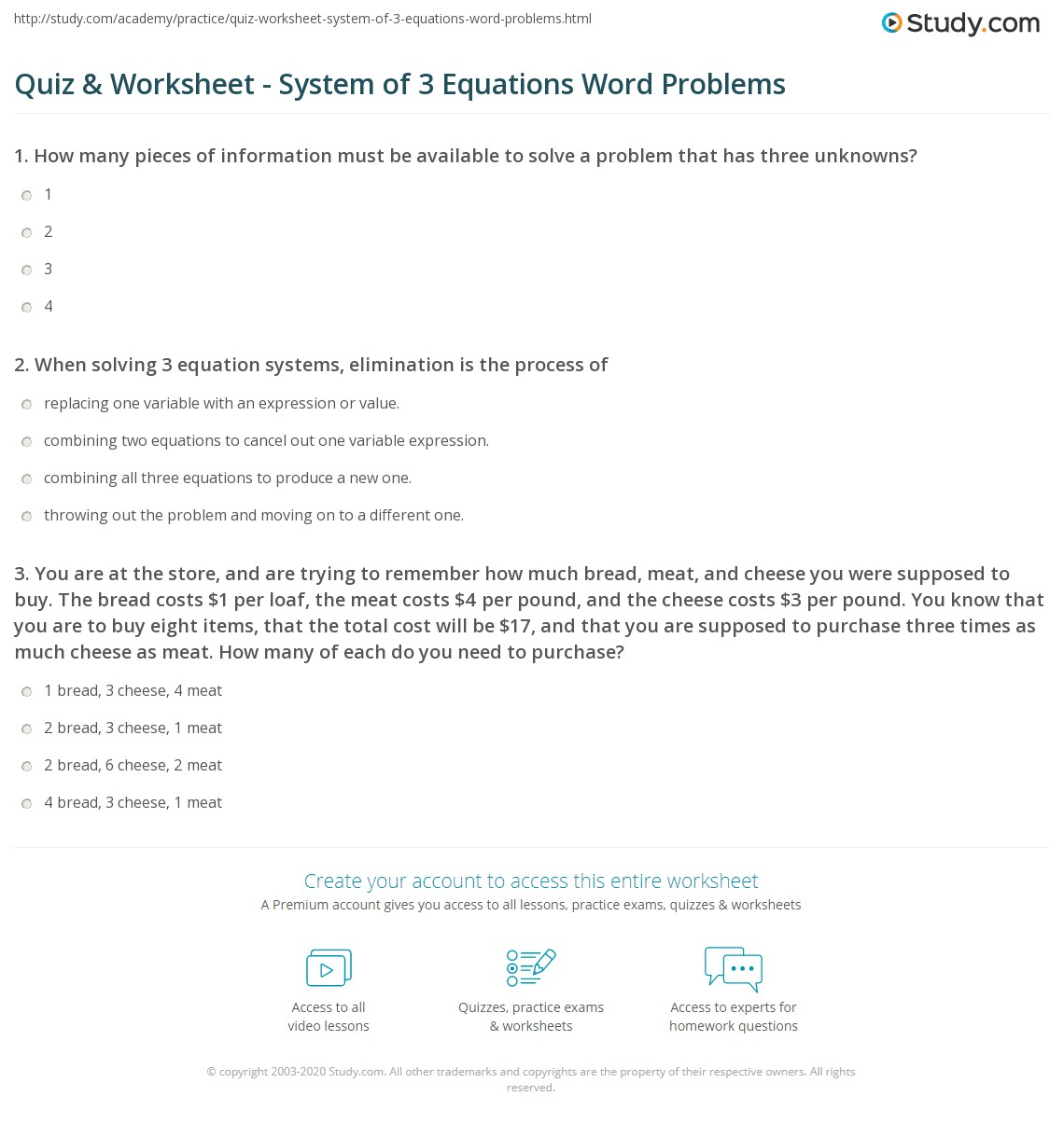 Quiz   Worksheet   System of 3 Equations Word Problems   Study besides Solving Systems Of Equations by Elimination Worksheet besides Subsution Word Problems Worksheets Systems Of Equations together with Graphing Linear Equations In Three Variables Worksheet   Free together with Free worksheets for evaluating expressions with variables  grades 6 in addition Solving Equations with Variables On Both Sides Worksheet 45 further Kuta Infinite Algebra 2 Arithmetic Series Elegant also Systems of Linear Equations    Three Variables    Easy  A besides Alge Worksheets   Free    monCoreSheets in addition Systems of Equations Maze Great worksheet   activity to strengthen in addition Chapter 3 Solving Linear Equations Answers Math Linear Equations In also  further Math Worksheets Equations With Variables   antihrap as well Simultaneous Equations One Linear One Quadratic Worksheets by together with  additionally . on simultaneous equations 3 unknowns worksheet