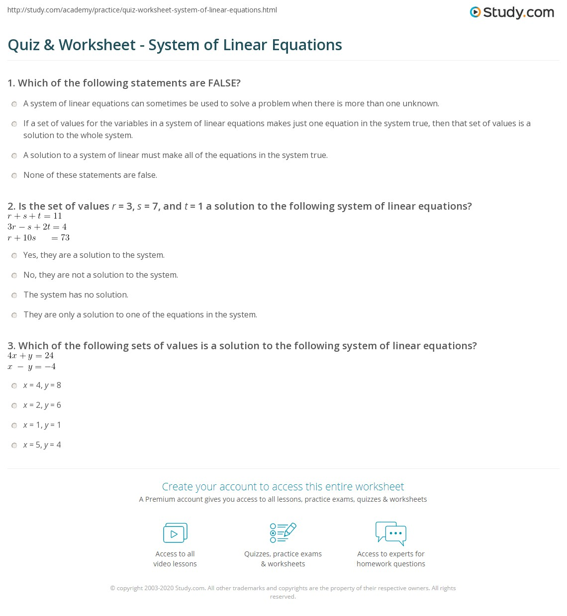 quiz & worksheet - system of linear equations | study