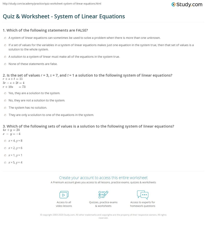 Quiz & Worksheet - System of Linear Equations | Study.com