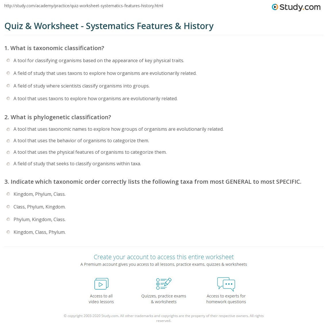 worksheet Classifying Organisms Worksheet quiz worksheet systematics features history study com print definition worksheet