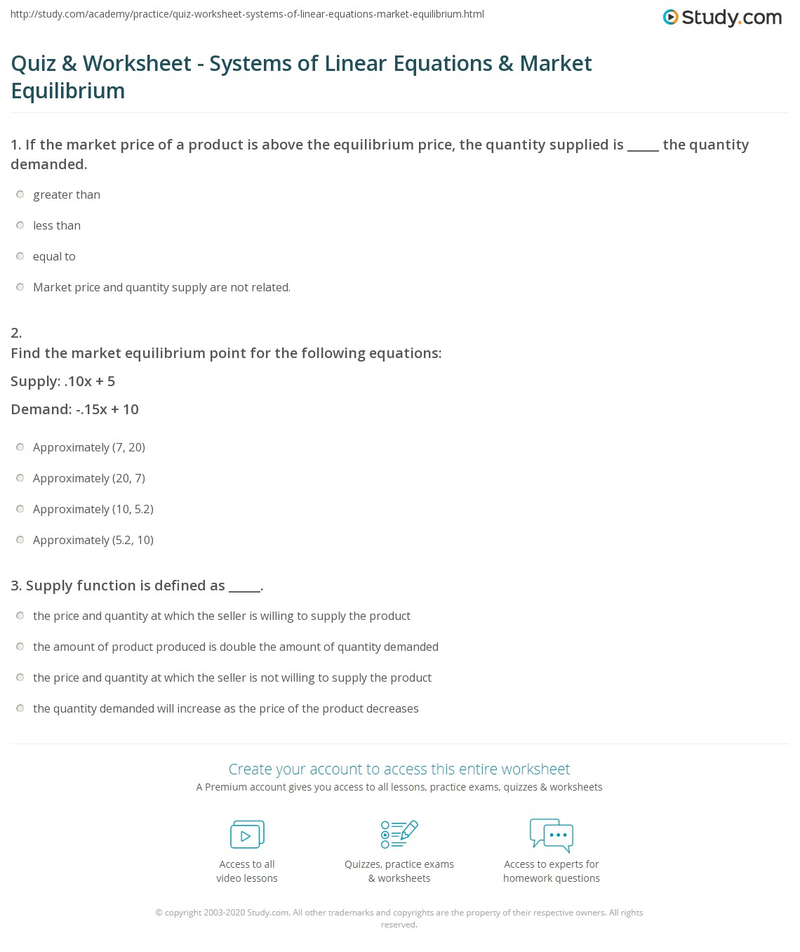 Quiz & Worksheet - Systems of Linear Equations & Market ...