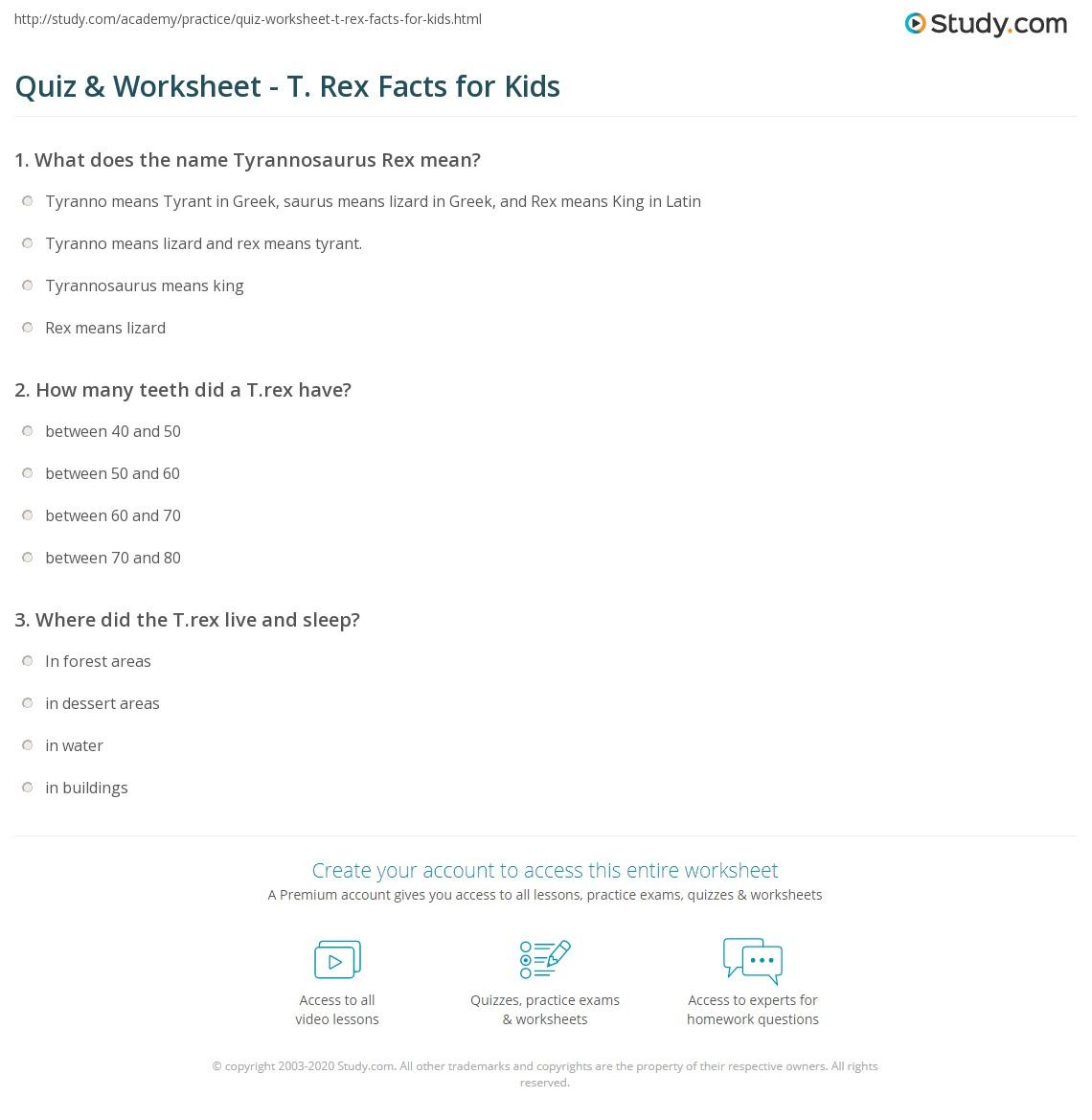 quiz-worksheet-t-rex-facts-for-kids