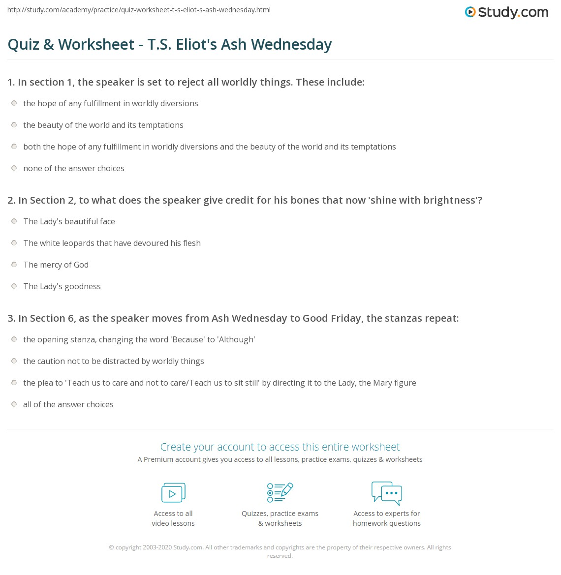 Print T.S. Eliot's Ash Wednesday: Summary & Analysis Worksheet