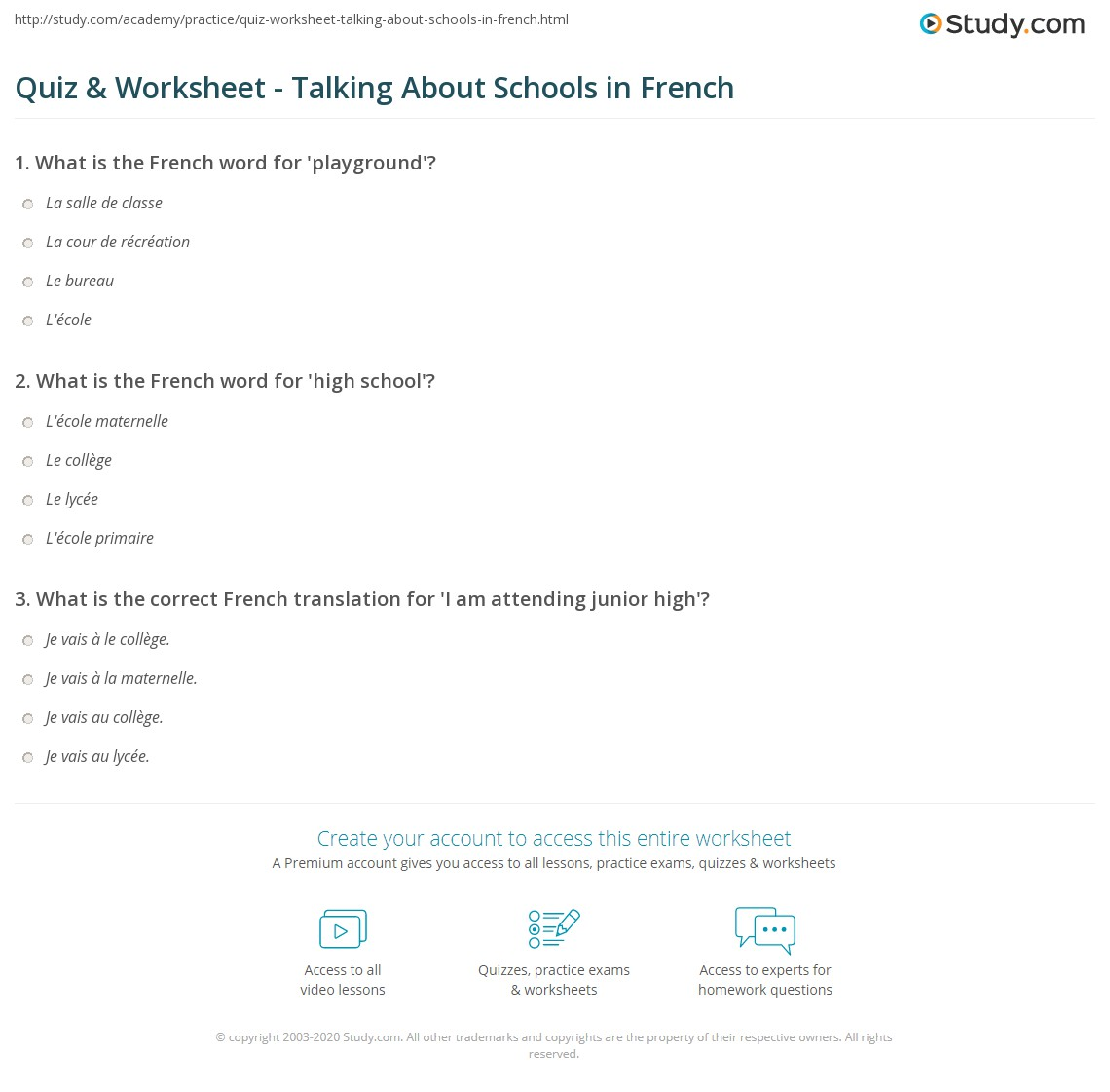 Quiz Worksheet Talking About Schools In French Study Com
