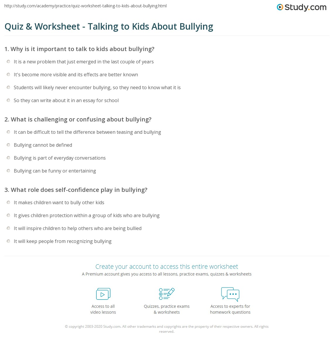 Worksheets Bullying Worksheets quiz worksheet talking to kids about bullying study com print how talk children worksheet
