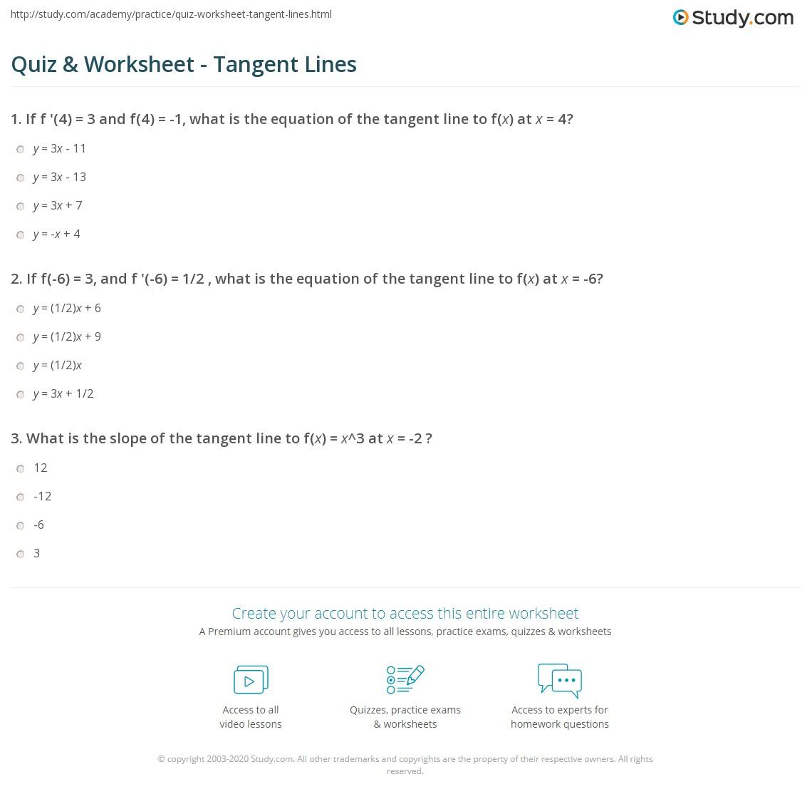 Worksheets Equations Of Lines Worksheet quiz worksheet tangent lines study com print line definition equation worksheet