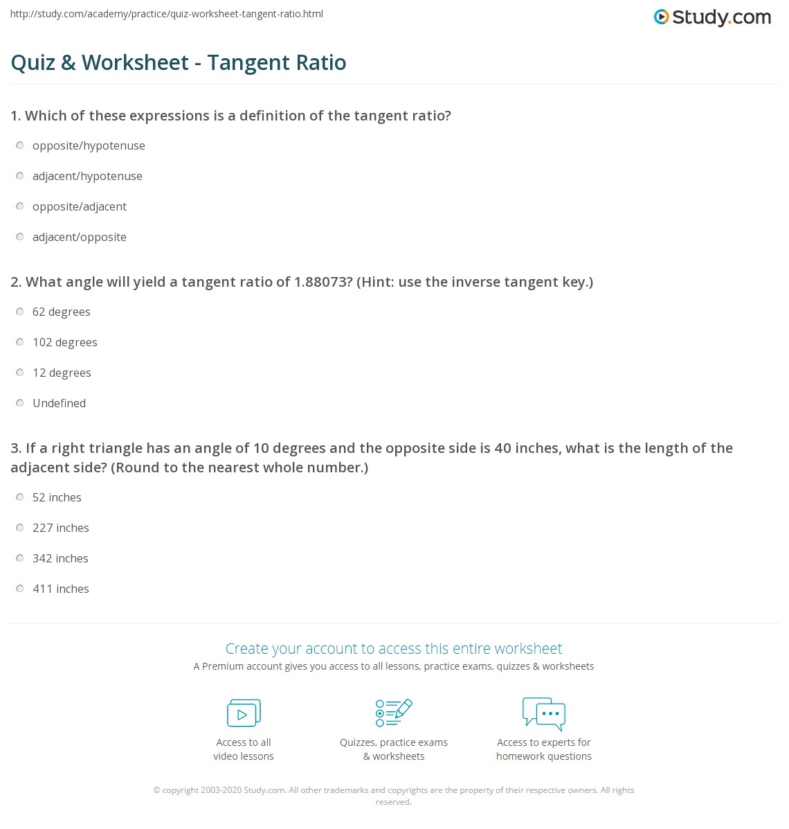 worksheet Tangent Ratio Worksheet quiz worksheet tangent ratio study com print definition formula worksheet