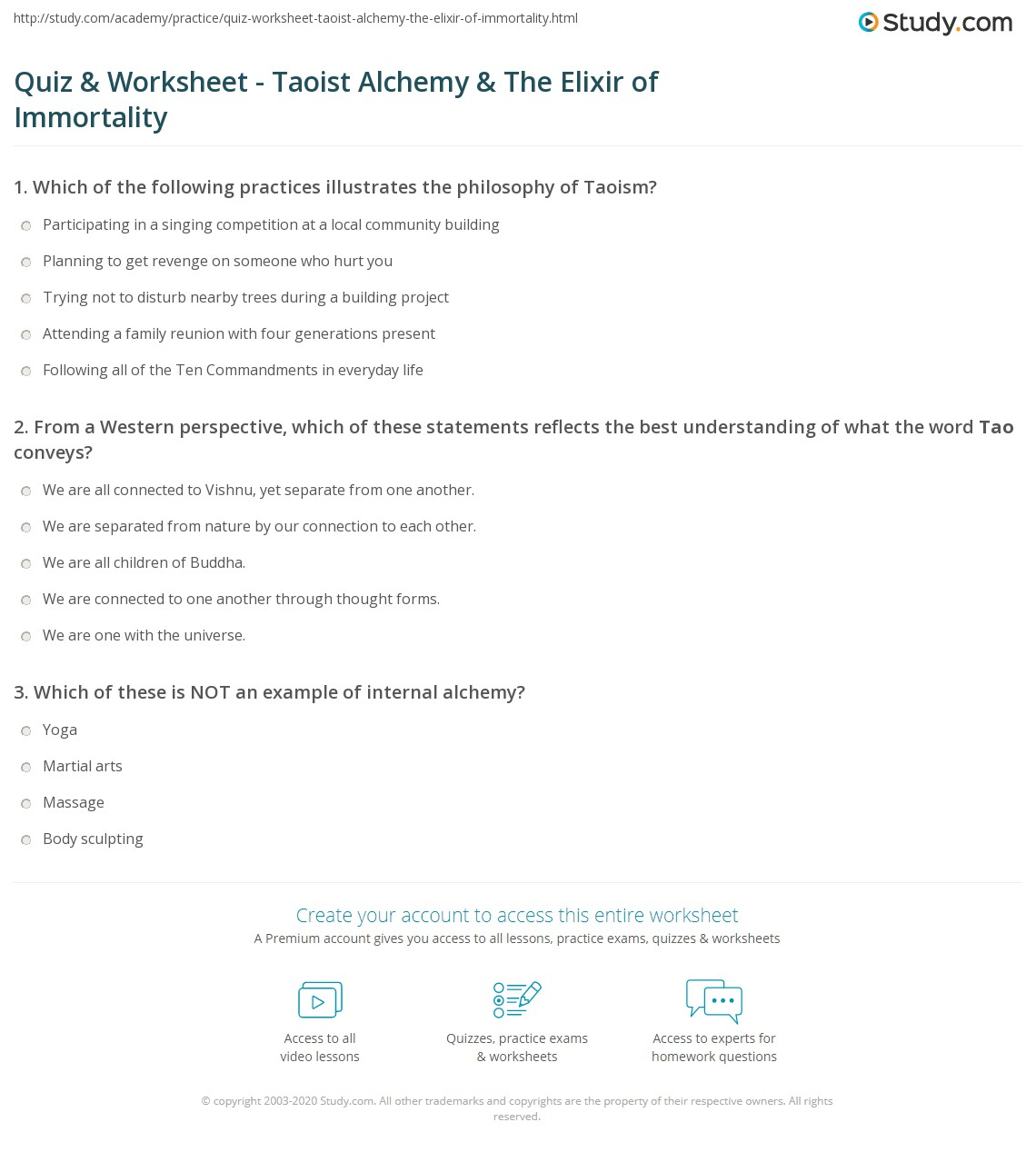 Quiz & Worksheet - Taoist Alchemy & The Elixir of Immortality