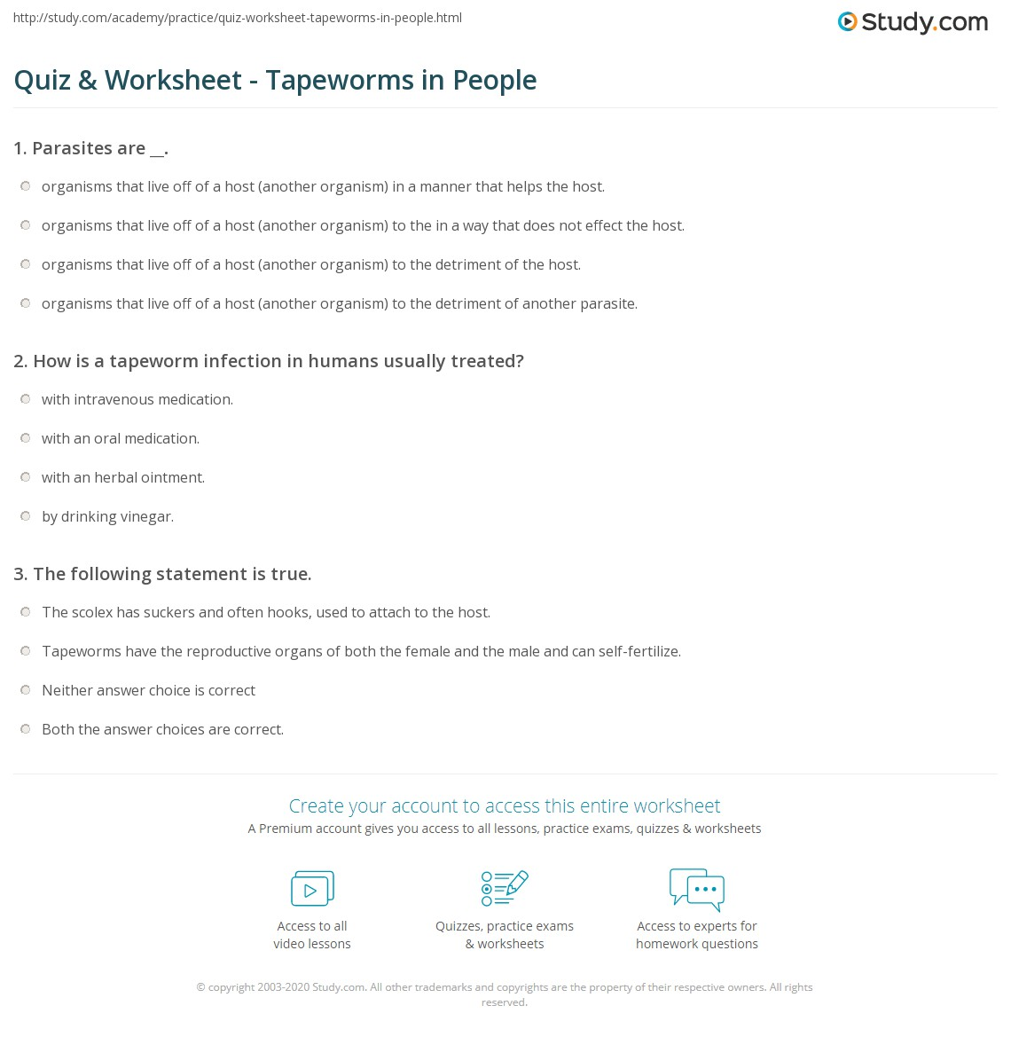 Quiz Worksheet Tapeworms In People Study