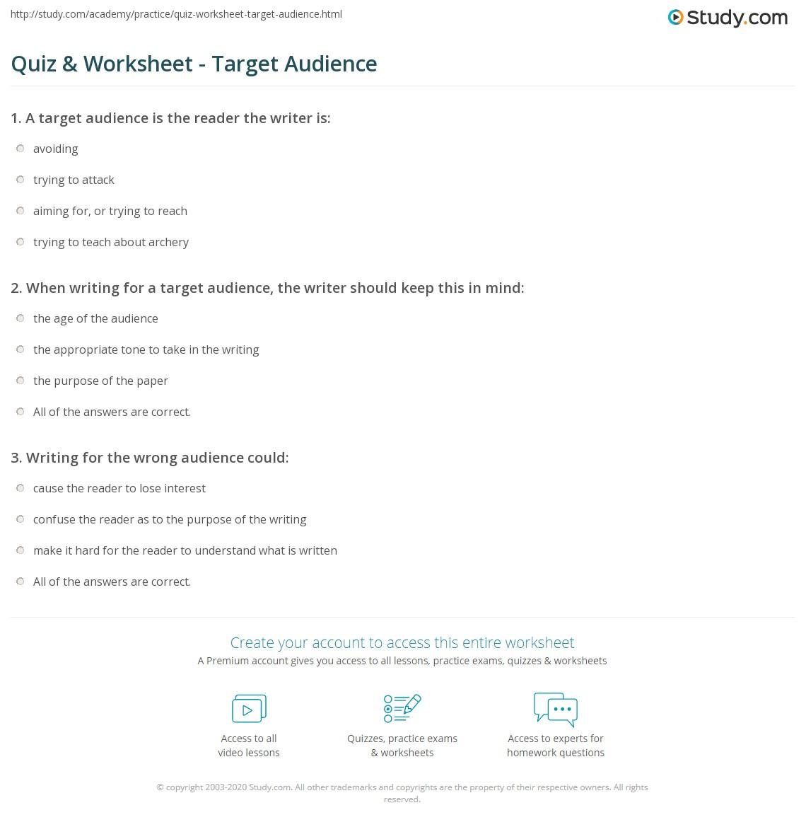 Quiz & Worksheet - Target Audience | Study.com