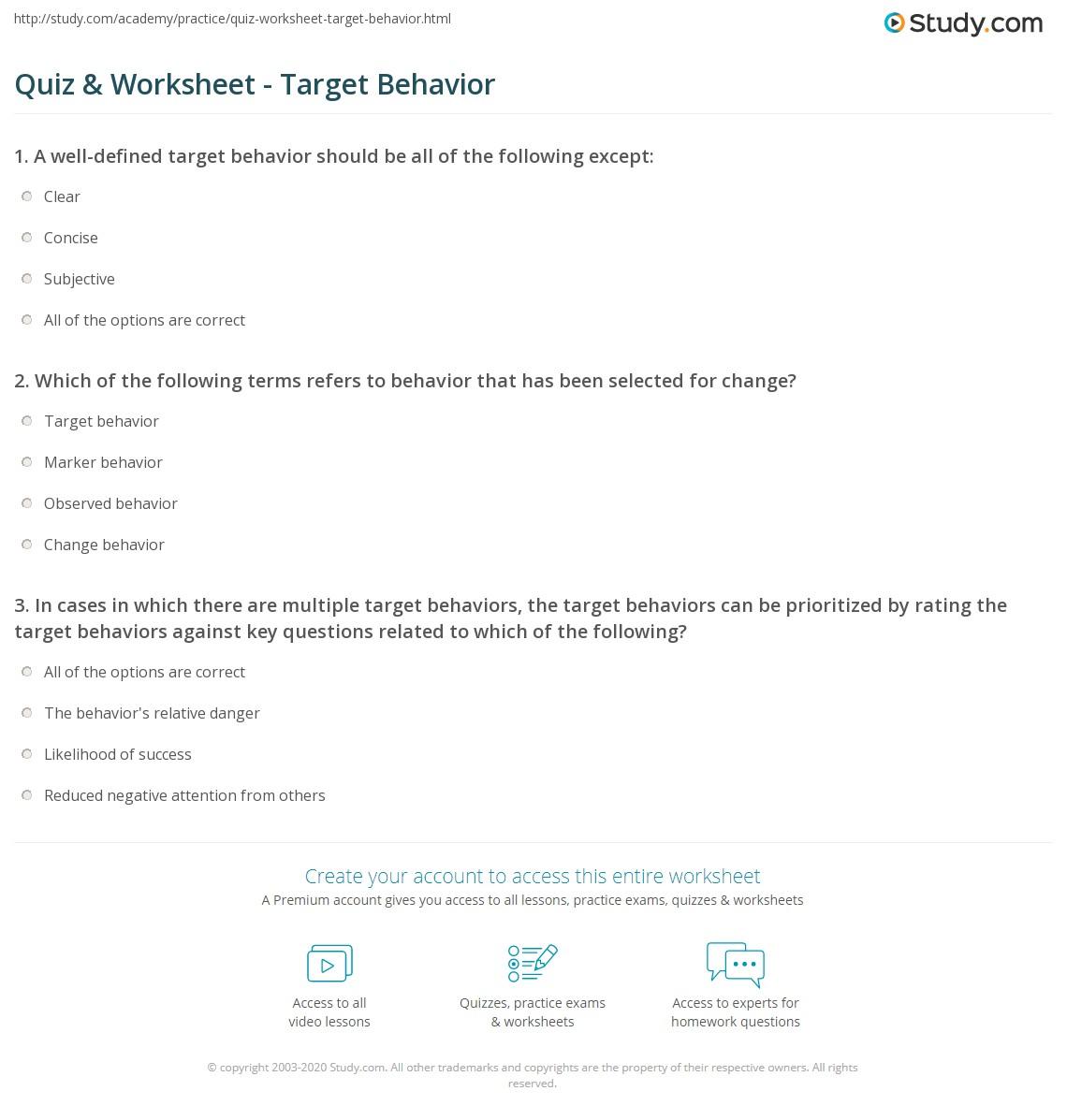 Quiz & Worksheet - Target Behavior   Study.com