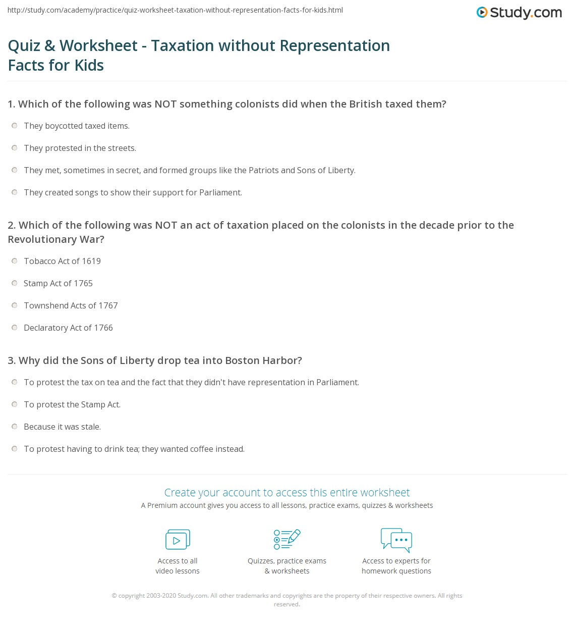 Quiz & Worksheet - Taxation without Representation Facts for Kids ...